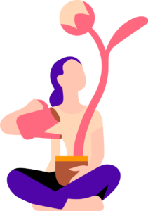 Illustration of a woman watering a pot with a large plant sprouting out of it