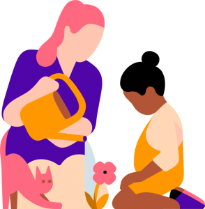 Illustration of a woman watering a flower in front of a young girl and a cat