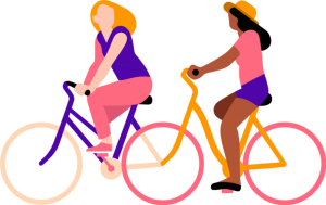 Illustration of two people on colorful bicycles